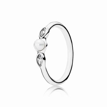 Pandora Petite Luminous Leaves Ring, White Pearl & Clear CZ 1909