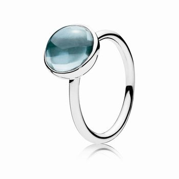 Pandora Poetic Droplet Ring, Aqua Blue Crystal 190982NAB