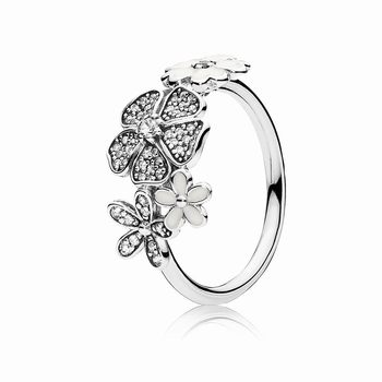 Pandora Shimmering Bouquet Ring, White Enamel & Clear CZ 190984C