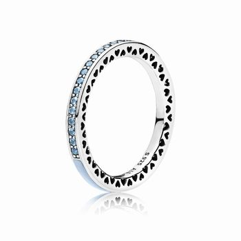 Pandora Radiant Hearts of PANDORA Ring, Air Blue Enamel & Sky Bl