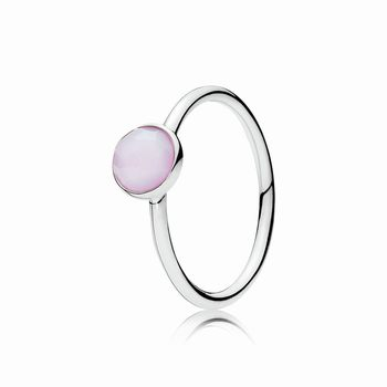 Pandora October Droplet Ring, Opalescent Pink Crystal 191012NOP