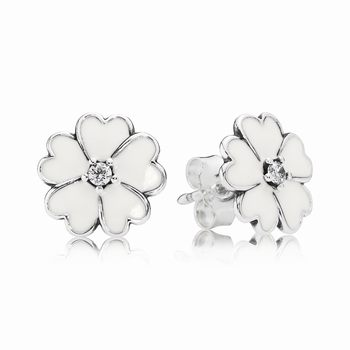 Pandora Primrose Stud Earrings, White Enamel 290569EN12