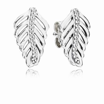 Shimmering Feathers Stud Earrings, Clear CZ 290582CZ
