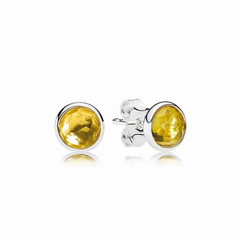 Pandora November Droplets Stud Earrings, Citrine 290738CI