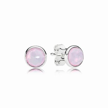 Pandora October Droplets Stud Earrings, Opalescent Pink Crystal