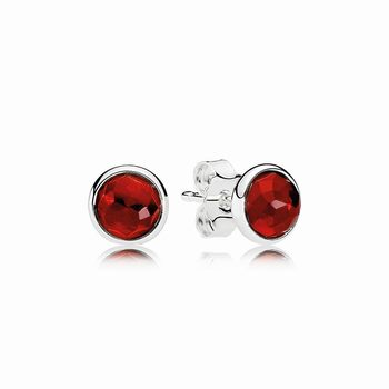 Pandora July Droplets Stud Earrings, Synthetic Ruby 290738SRU