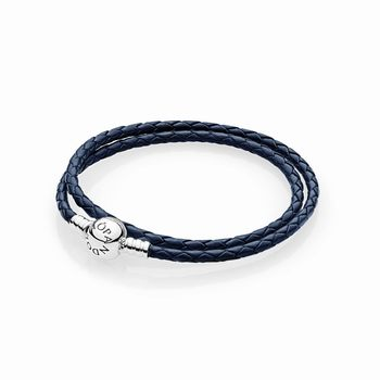 Pandora Dark Blue Braided Double-Leather Charm Bracelet 590745CD