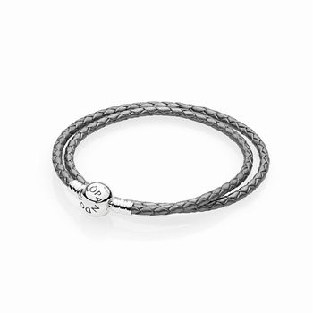 Pandora Silver Grey Braided Double-Leather Charm Bracelet 590745