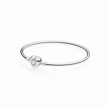 Pandora Moments Silver Bangle, Logo Heart Clasp 596268