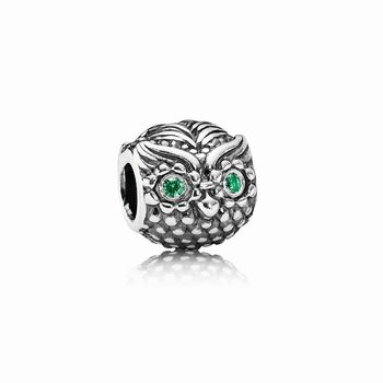 Wise Owl Charm, Dark Green CZ 791211CZN