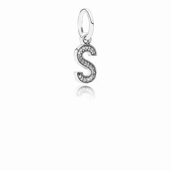 Letter S Dangle Charm, Clear CZ 791331CZ
