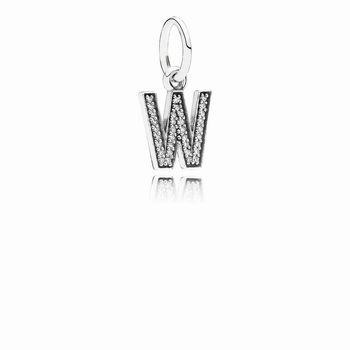 Letter W Dangle Charm, Clear CZ 791335CZ