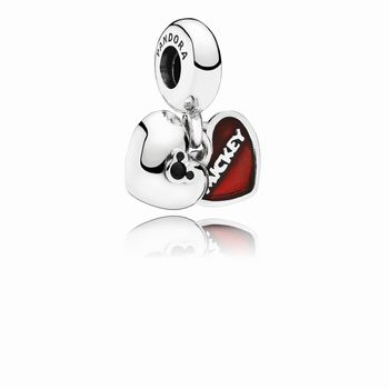 Pandora Disney, Mickey & Minnie Dangle Charm, Red Enamel 791441N