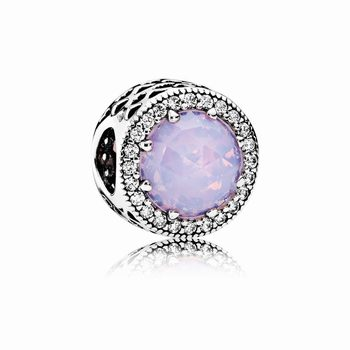 Pandora Radiant Hearts Charm, Opalescent Pink Crystal & Clear CZ