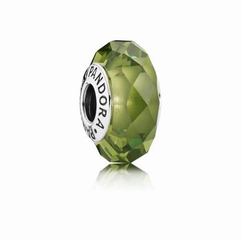 Abstract silver charm with faceted light green crystal 791729NLG