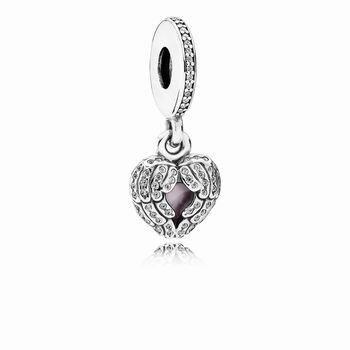Pandora Angel Wings Dangle Charm, Clear CZ & Pink Enamel 791737C