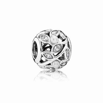 Pandora Luminous Leaves, White Pearl & Clear CZ 791754P