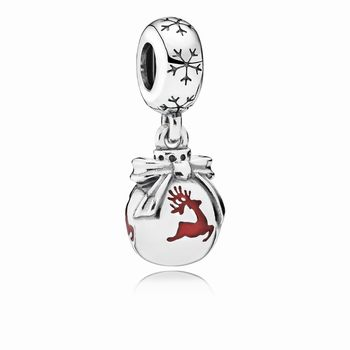 Christmas ornament silver dangle with translucent classic red en