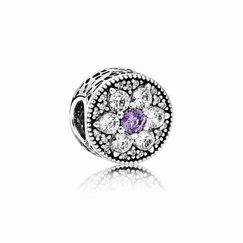 Pandora Forget Me Not Charm, Purple & Clear CZ 791832ACZ