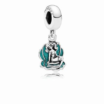 Pandora Disney, Ariel & Sea Shell Dangle Charm, Glittery Seafoam