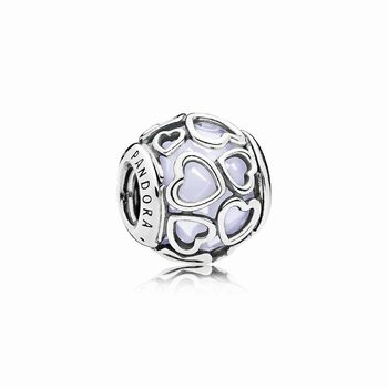 Pandora Encased in Love Charm, Opalescent White Crystal 792036NO
