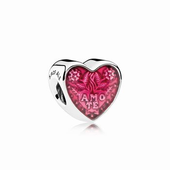 Pandora Latin Love Heart Charm, Transparent Cerise Enamel 792048