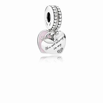 Pandora Mother & Daughter Hearts Dangle Charm, Soft Pink Enamel