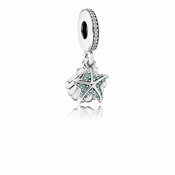 Pandora Tropical Starfish & Sea Shell Dangle Charm, Frosty Mint