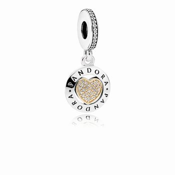 Pandora PANDORA Signature Heart Dangle Charm, Clear CZ 792082CZ
