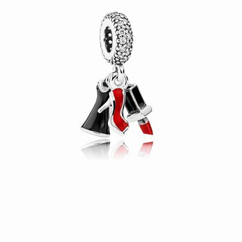Pandora Glamour Trio Dangle Charm, Mixed Enamel & Clear CZ 79215